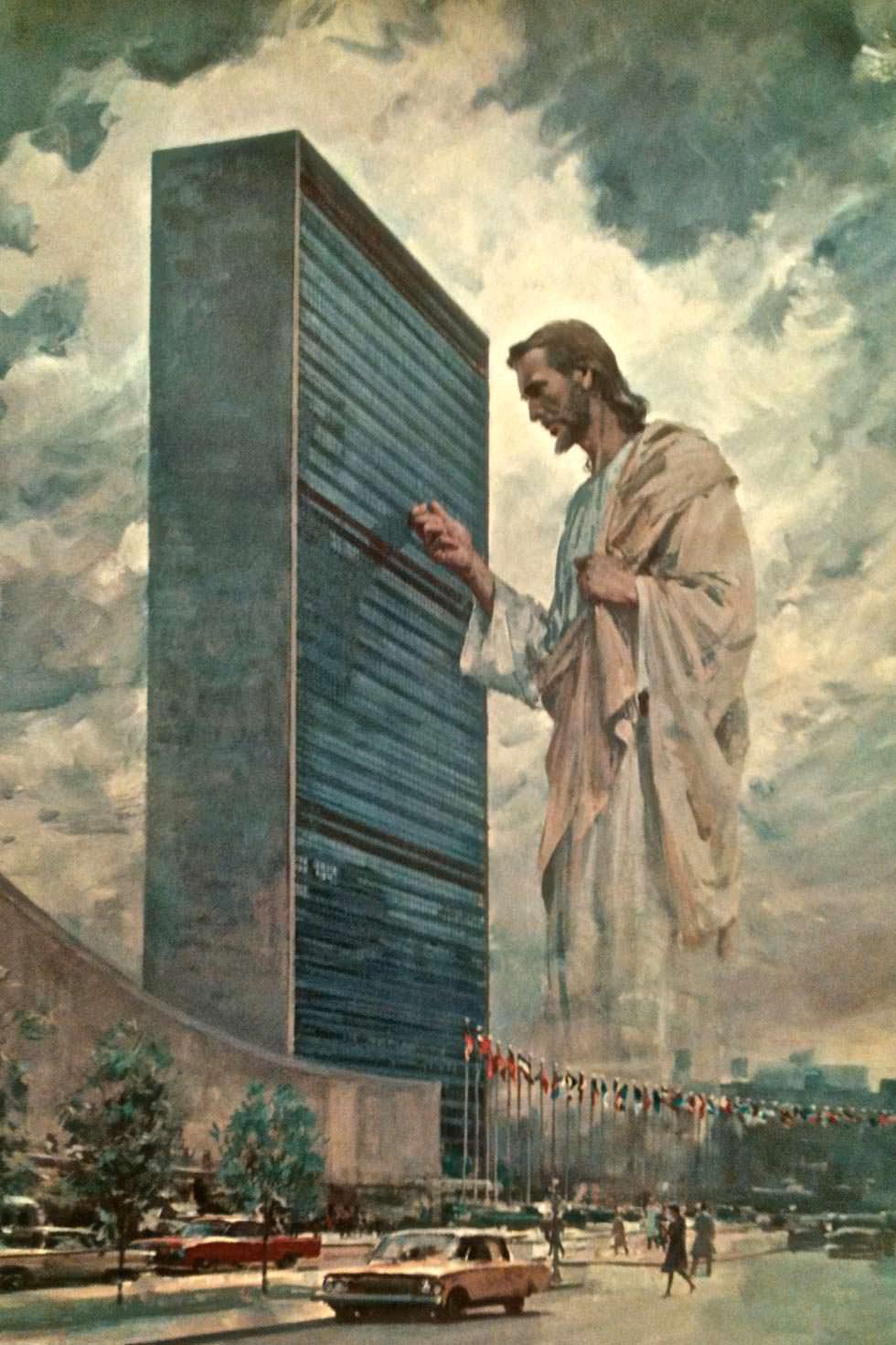Cristo dando el toque a las Naciones Unidas