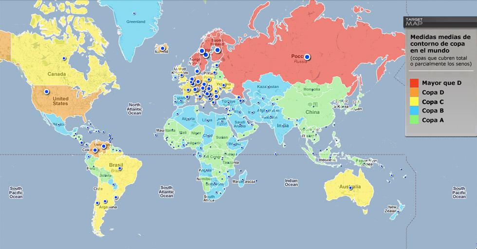 Países según las medidas de pecho