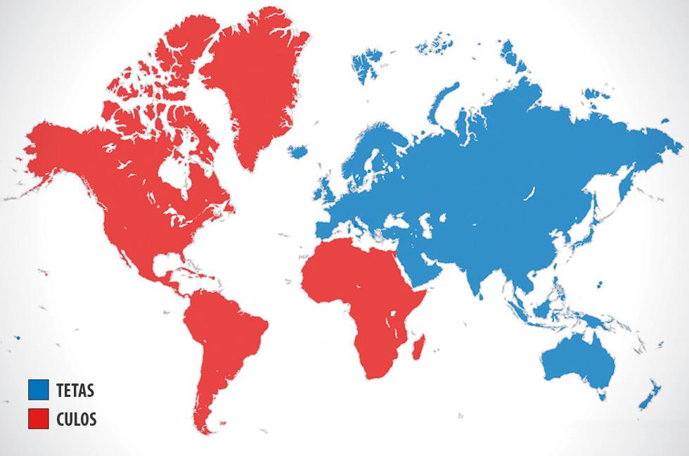 La división Oriente/Occidente según Pornhub