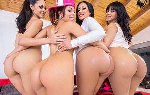 Cuatro latinas para una polla yanqui